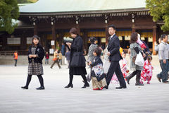 Japanese family dress up in formal Royalty Free Stock Image