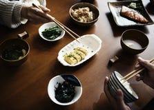 Japanese family had a dinner.  Royalty Free Stock Photos