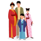 Japanese family. Japanese man and woman with boy and girl kids in traditional national clothes. Stock Photos