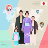 Japanese family in national dress,vector illustration Royalty Free Stock Images