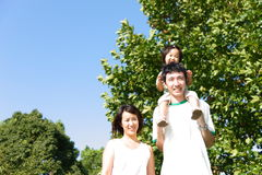 Japanese family in the park Royalty Free Stock Images