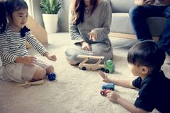 Japanese family spending time together at home royalty free stock images