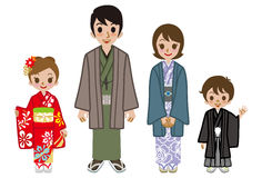 Japanese family wearing Kimono Stock Photos