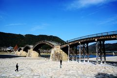 Japanese famous wodden bridge/Kintaikyo. Kintaikyo,located in Iwakuni-city,Yamaguchi prefecture,is a series of five-arched wooden bridge. Kintaikyo is counted as royalty free stock photo
