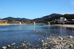 Japanese famous wodden bridge/Kintaikyo. Kintaikyo,located in Iwakuni-city,Yamaguchi prefecture,is a series of five-arched wooden bridge. Kintaikyo is counted as royalty free stock image