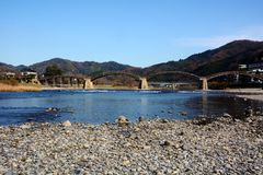 Japanese famous wodden bridge/Kintaikyo. Kintaikyo,located in Iwakuni-city,Yamaguchi prefecture,is a series of five-arched wooden bridge. Kintaikyo is counted as royalty free stock images