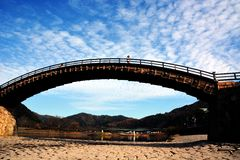 Japanese  famous wodden bridge/Kintaikyo. Kintaikyo,located in Iwakuni-city,Yamaguchi prefecture,is a series of five-arched wooden bridge Stock Image