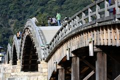 Japanese  famous wodden bridge/Kintaikyo. Kintaikyo,located in Iwakuni-city,Yamaguchi prefecture,is a series of five-arched wooden bridge Royalty Free Stock Photos