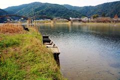 Japanese famous wodden bridge/Kintaikyo. Kintaikyo,located in Iwakuni-city,Yamaguchi prefecture,is a series of five-arched wooden bridge. Kintaikyo is counted as stock photos