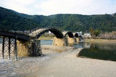 Japanese  famous wodden bridge/Kintaikyo. Kintaikyo,located in Iwakuni-city,Yamaguchi prefecture,is a series of five-arched wooden bridge Stock Images