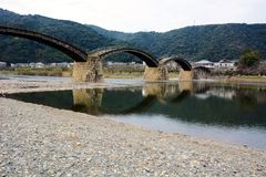 Japanese  famous wodden bridge/Kintaikyo. Kintaikyo,located in Iwakuni-city,Yamaguchi prefecture,is a series of five-arched wooden bridge Royalty Free Stock Photo