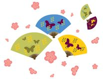 Japanese Fan & Cherry Blossom Stock Photography
