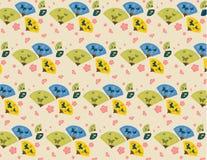 Japanese Fan & Cherry Blossom Pattern Stock Photography