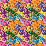 Japanese fan curve owl seamless pattern. This illustration is drawing Japanese fan curve with owl in colorful seamless pattern Royalty Free Stock Photo