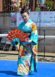 Japanese fan dancer Royalty Free Stock Photos