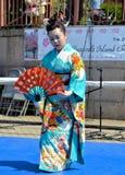 Japanese fan dancer Royalty Free Stock Photos
