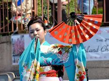 Japanese fan dancer Royalty Free Stock Images
