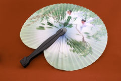 Japanese fan depicting birds in the trees Royalty Free Stock Images