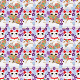 Japanese fan Maneki neko seamless pattern Royalty Free Stock Photography