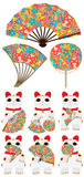 Japanese fan Maneki neko set Royalty Free Stock Photos