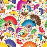 Japanese Fan No Tassel Firework Colorful Seamless Pattern Stock Photography