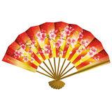 Japanese fan over white Royalty Free Stock Photo