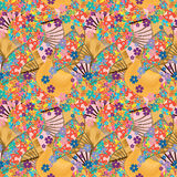 Japanese fan owl orange seamless pattern. This illustration is Japanese fan orange color with owls and flowers in seamless pattern Stock Photos