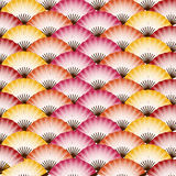 Japanese fan patterns. Traditional colorful Japanese fans pattern background Stock Images
