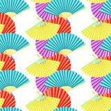Japanese fan seamless pattern color bars. vector illustration Royalty Free Stock Image