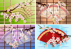 Japanese fan set. Four japanese fans with a blossoming branch of eastern cherry drawn against different color backgrounds vector illustration