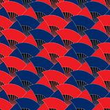 Japanese fan symmetry style color seamless pattern. This illustration is design Japanese fan symmetry with style blue and red colors in seamless pattern Stock Photography