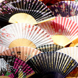 Japanese fans. Close up shot of a variety of Japanese fans Stock Photos