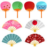 Japanese fans. Set of decorated Japanese fans Royalty Free Stock Images