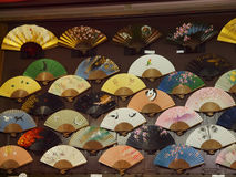 Japanese Fans. A display of traditional Japanese paper fans Stock Photos