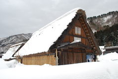Japanese farm house. Traditional Gassho Zukuri farmhouse in Shirakawago Stock Photos