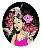 Japanese fashion girl with white crane and sequins embroidered peonies. Vector illustration. Japanese fashion girl with white crane and sequins embroidered Stock Image