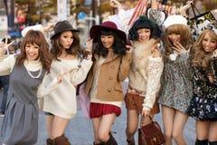 Japanese fashion girls group royalty free stock image