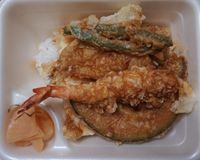 Japanese fast food tempura tendon. Tempura is a Japanese dish stock photo
