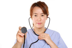 Japanese Femal Doctor With Stethoscope Royalty Free Stock Photos