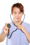 Japanese Femal Doctor With Stethoscope Stock Photography