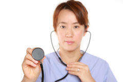 Japanese Femal Doctor With Stethoscope Royalty Free Stock Image