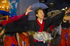 Japanese female dancer festival kimono. Japanese dancers, young woman in kimono dancing during Ozone maturi, a festival holding at the traditional shopping Royalty Free Stock Image