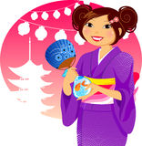Japanese festival. Japanese girl in kimono during the traditional summer festival Royalty Free Stock Images