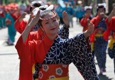 Japanese Festival Dancers. Kagoshima City, Japan, October 28, 2007. Women in yukata kimono dancing in symmetry during the Taniyama Furusato Matsuri dance stock photos