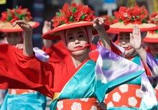 Japanese Festival Dancers. Kagoshima City, Japan, October 28, 2007. Women in yukata kimono dancing in symmetry during the Taniyama Furusato Matsuri dance stock images