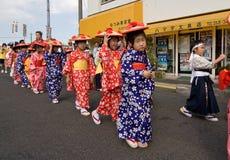 Japanese Festival Dancers. Kagoshima City, Japan, October 28, 2007. Young girls in yukata kimono preparing to dance during the Taniyama Furusato Matsuri dance royalty free stock image