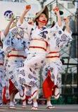 Japanese Festival dancers. Kagoshima City, Japan, April 26, 2008. Dancers in yukata kimono performing onstage in the Daihanya Festival held in Kagoshima City stock photo