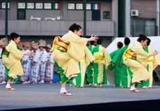 Japanese Festival dancers. Kagoshima City, Japan, April 26, 2008. Dancers in yukata kimono performing onstage in the Daihanya Festival held in Kagoshima City royalty free stock photo