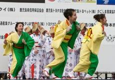 Japanese Festival dancers. Kagoshima City, Japan, April 26, 2008. Dancers in yukata kimono performing onstage in the Daihanya Festival held in Kagoshima City stock images