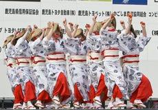 Japanese Festival dancers. Kagoshima City, Japan, April 26, 2008. Dancers in yukata kimono performing onstage in the Daihanya Festival held in Kagoshima City stock photos